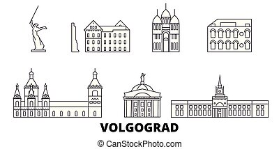 ciudad, contorno, ilustración, set., landmarks., símbolo,...