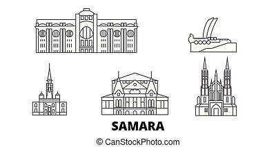 ciudad, contorno, ilustración, set., landmarks., samara,...