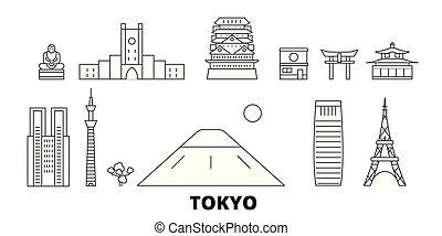 ciudad, contorno, ilustración, set., tokio, landmarks.,...