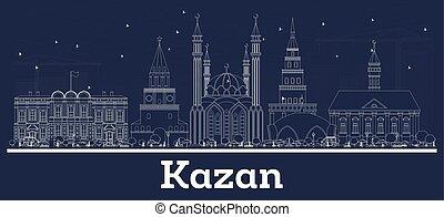 ciudad, contorno, kazan, contorno, blanco, rusia, edificios.