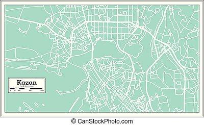 ciudad, contorno, kazan, mapa, map., rusia, retro, style.