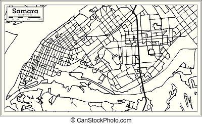 ciudad, contorno, mapa de russia, map., samara, retro,...
