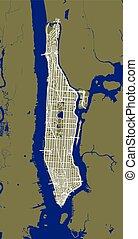 ciudad, contorno, mapa, fragmento, calles, york, manhattan.,...