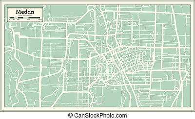 ciudad, contorno, mapa, indonesia, map., retro, style., ...