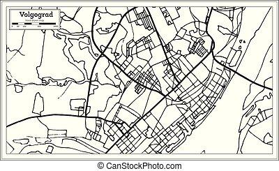 ciudad, contorno, mapa, map., rusia, retro, volgograd,...