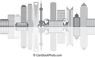 ciudad, contorno, shanghai, grayscale, ilustración, contorno