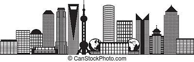 ciudad, contorno, shanghai, ilustración, contorno, negro,...