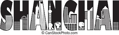 ciudad, contorno, texto, shanghai, ilustración, contorno