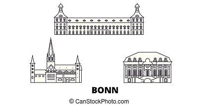 ciudad, contorno, vistas, ilustración, set., landmarks., ...
