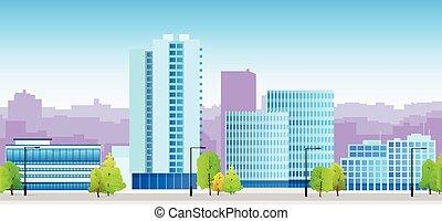 ciudad, contornos, azul, ilustración, arquitectura