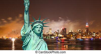 ciudad, contornos, libertad, york, estatua, nuevo