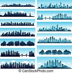 ciudad, contornos, panorámico