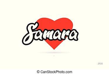 ciudad, corazón, tipografía, samara, diseño, logotipo, rojo,...