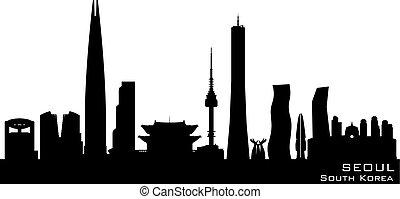 ciudad, corea, silueta, seúl, contorno, vector, sur