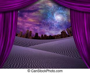 ciudad, cortinas, por, vistos, abierto, distancia