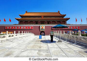 ciudad, cuadrado de tiananmen, prohibido, beijing