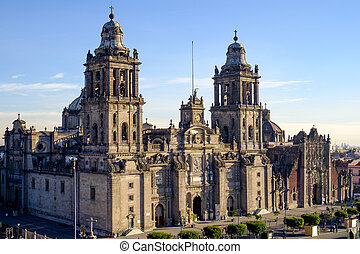 ciudad, cuadrado, zocalo, méxico, catedral, vista