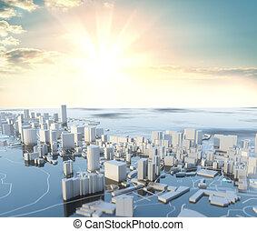 ciudad, día, illustration., soleado, 3d, futurista