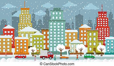 ciudad, días, invierno