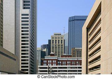 ciudad, dallas, céntrico, bulidings, urbano, vista