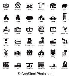 ciudad de edificios, icono, conjunto