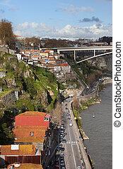 ciudad, de, porto, en, portugal, por, douro, río