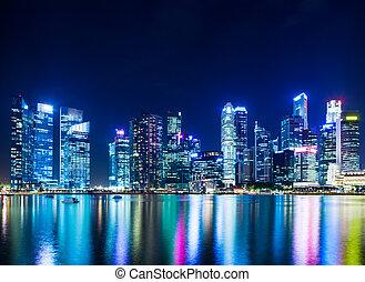 ciudad de singapur, contorno, por la noche