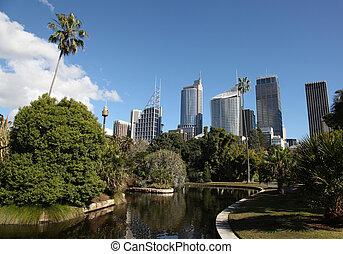 ciudad, destination., turista, botánico, gardens., contorno...