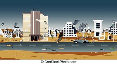 ciudad, destruido