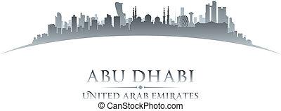 ciudad, dhabi, silueta, contorno, abu, plano de fondo,...