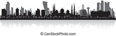 ciudad, dhabi, silueta, contorno, abu, uae