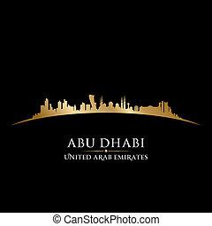 ciudad, dhabi, silueta, contorno, negro, abu, plano de...
