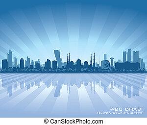 ciudad, dhabi, silueta, contorno, vector, abu, uae