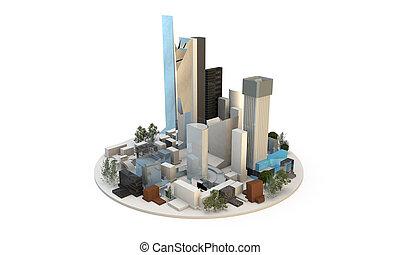 ciudad, diferente, rascacielos, exposición, includng, ...