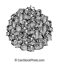 ciudad, diseño, su, plano de fondo, bosquejo