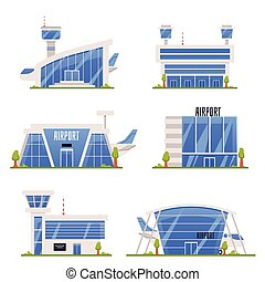 ciudad, diseños, aeropuertos, conjunto, edificios, vector, illustration., arquitectura