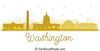 ciudad, dorado, washington dc, silhouette., contorno