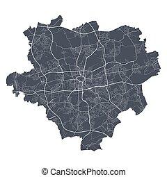 ciudad, dortmund, vector., detallado, mapa, cityscape, ...