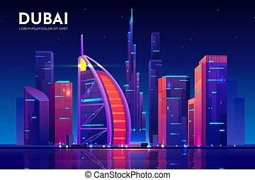 ciudad, dubai, hotel, al, burj, árabe, contorno, uae
