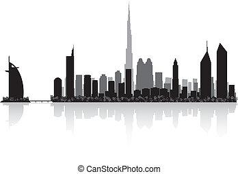 ciudad, dubai, vector, silueta, contorno
