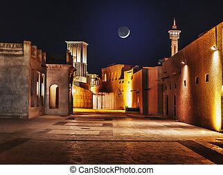 ciudad, dubai, viejo, calles, árabe, noche, uae, vista