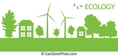 ciudad, ecología, eco, vector, fondo verde, aldea, o