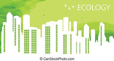 ciudad, ecología, eco, vector, fondo verde