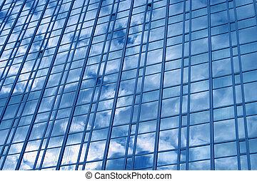 ciudad, edificio, azul