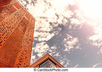ciudad, -, edificio de oficinas