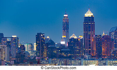 ciudad, edificio de oficinas, torre