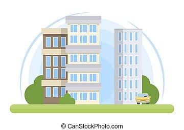 ciudad, edificio, illustration.