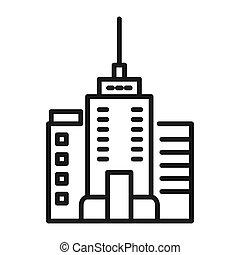 ciudad, edificio, ilustración, diseño