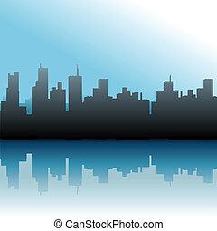 ciudad, edificios, cielo urbano, contorno, mar
