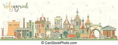 ciudad, edificios., color, contorno, volgograd, rusia
